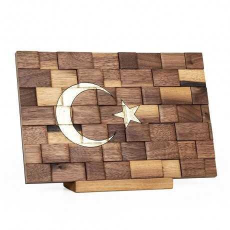 Doğal Ahşap Türk Bayrağı - Mini (El Yapımı)